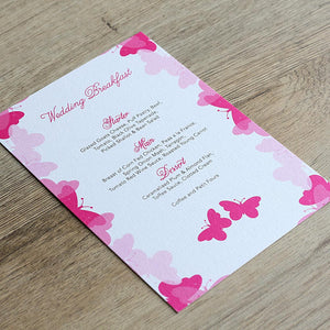 Graceful Butterfly Menu Card