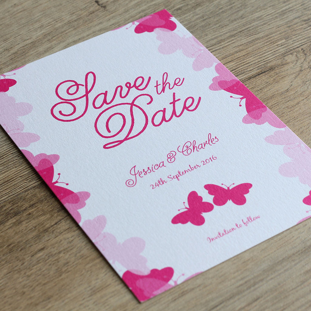 Graceful Butterfly Save the Date Card