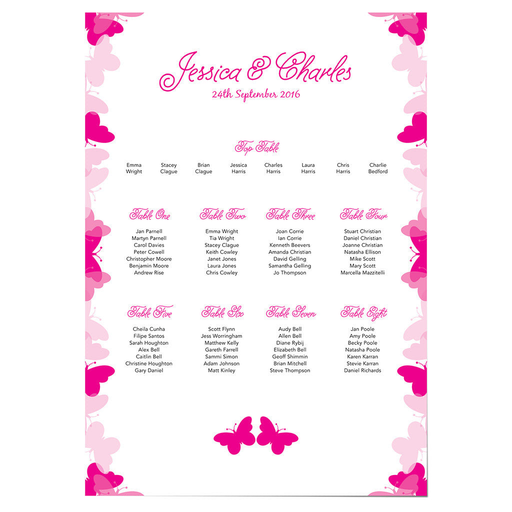 Graceful Butterfly Wedding Table Plan