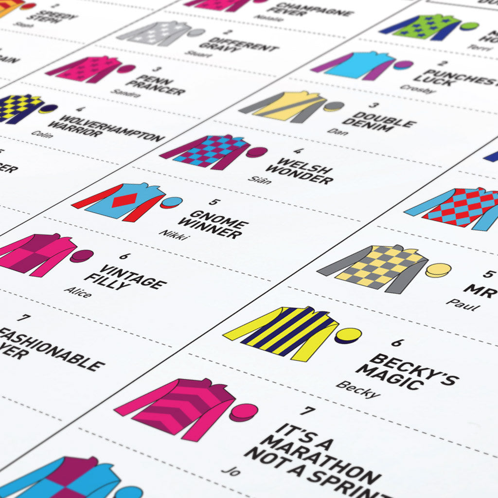 At the Races Table Plan Detail Example