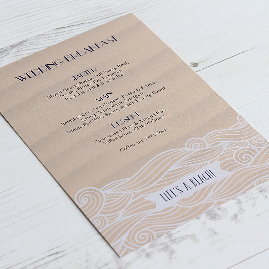 Life's a Beach Menu Card
