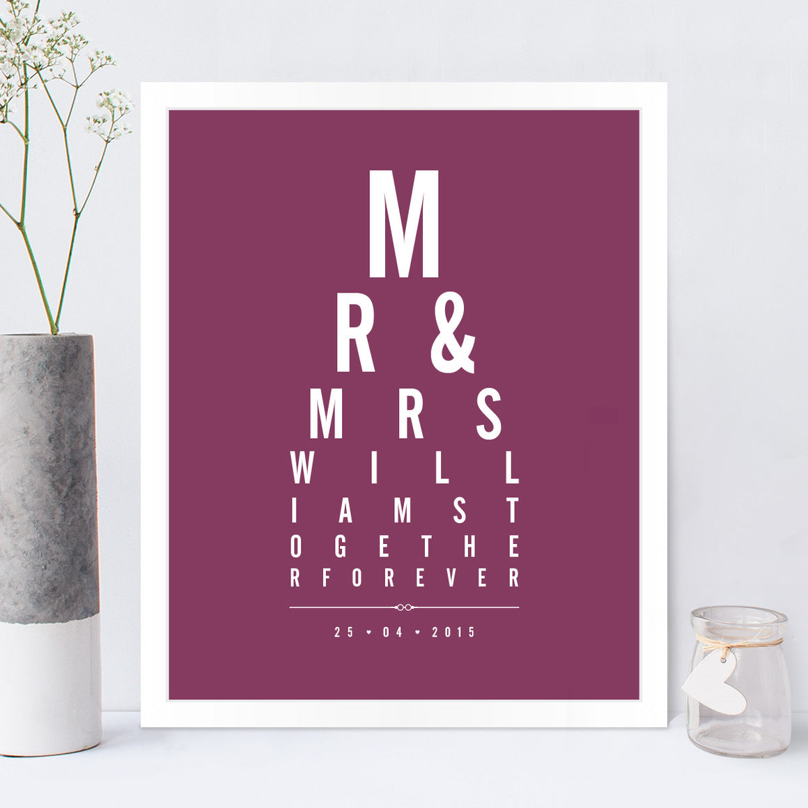 Mr & Mrs Eye Chart print in Blackcurrant
