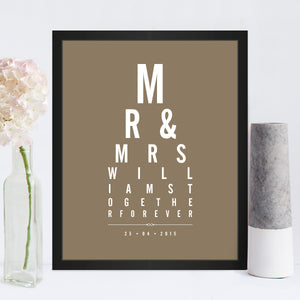 Mr & Mrs Eye Chart print in Truffle