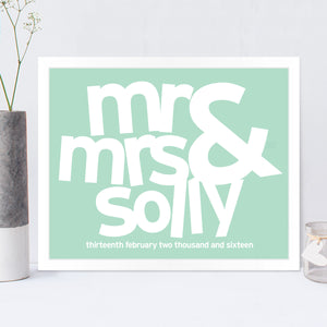 Personalised Mr & Mrs Wedding Print in Duck Egg