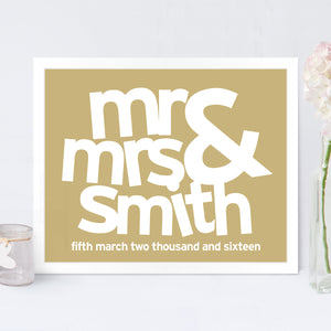 Personalised Mr & Mrs Wedding Print in Latte