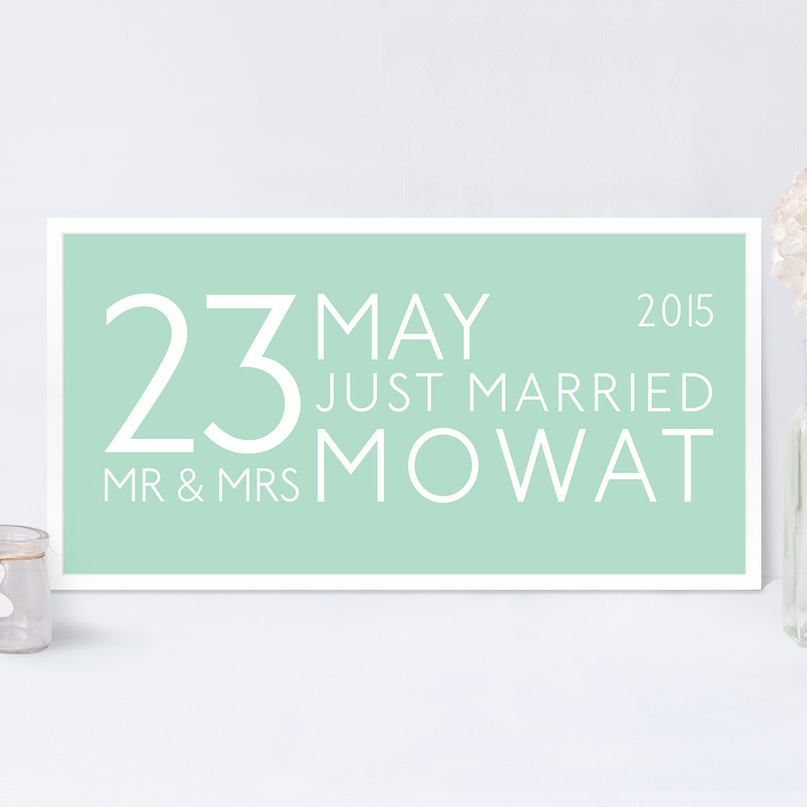 Mr & Mrs Personalised Bus Blind Print in Duck Egg