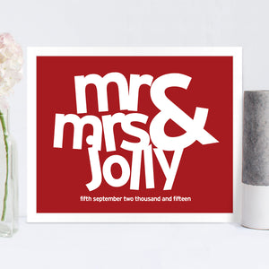 Personalised Mr & Mrs Wedding Print in Cupid