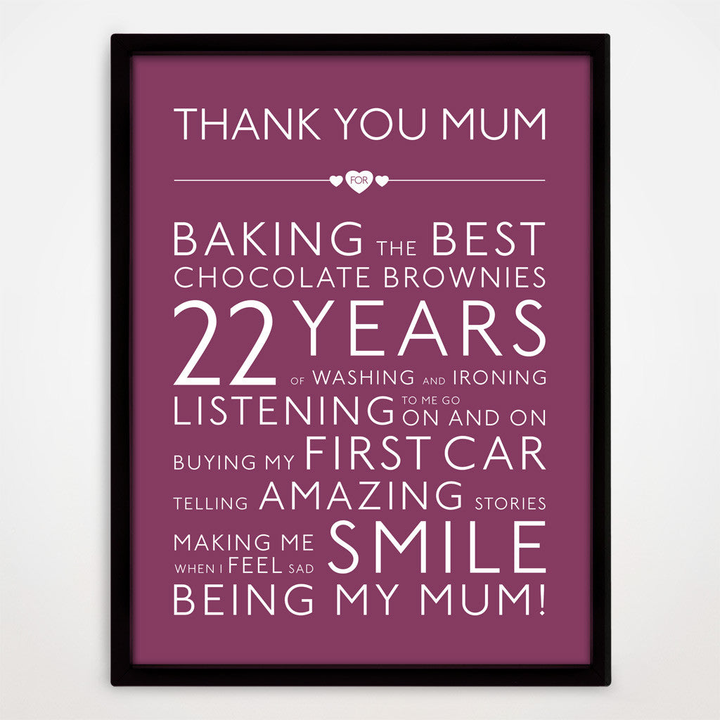 Personalised Thank You Mum Print in Blackcurrant