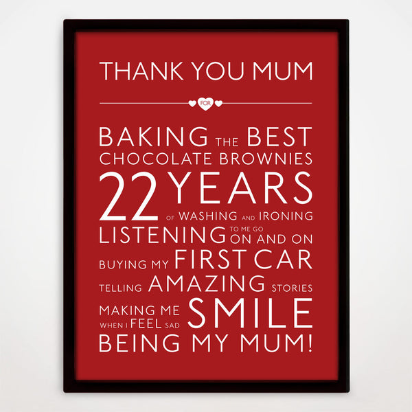 Personalised Thank You Mum Print in Cupid