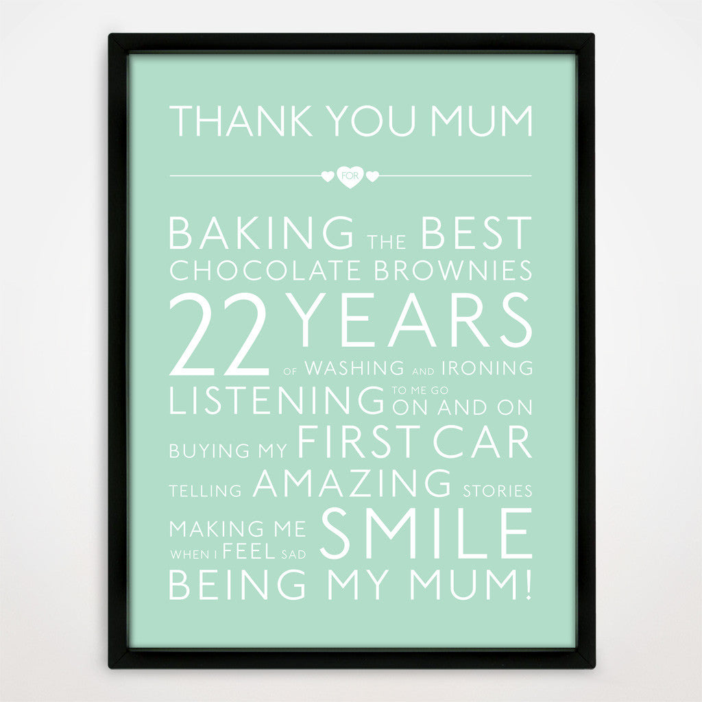 Personalised Thank You Mum Print in Duck Egg