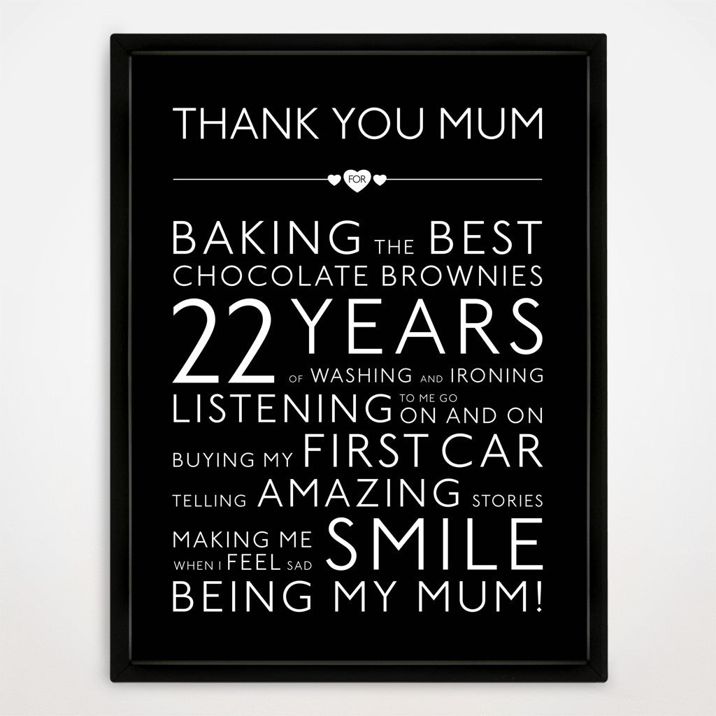 Personalised Thank You Mum Print in Traditional