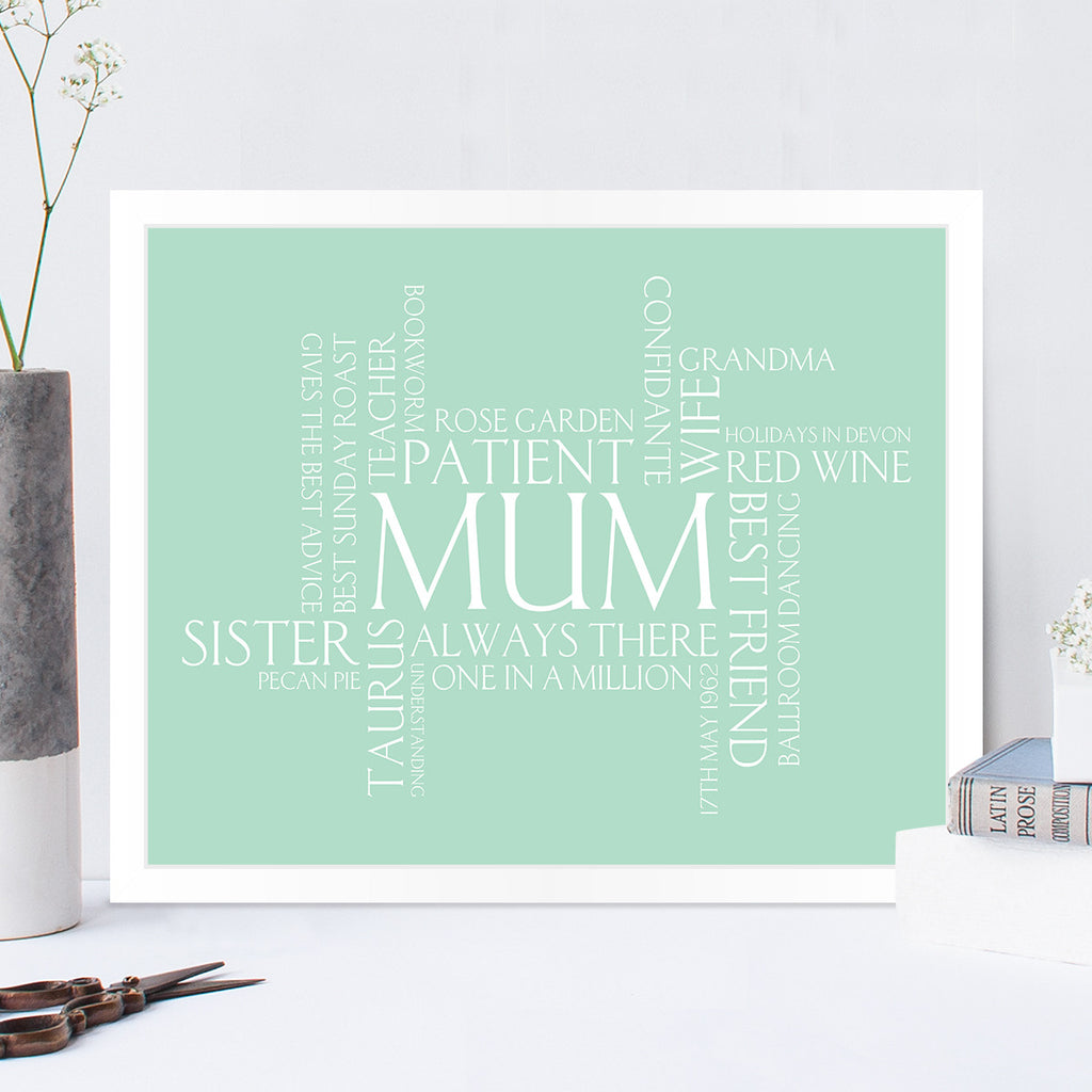 Personalised Wordle Print in Duck Egg