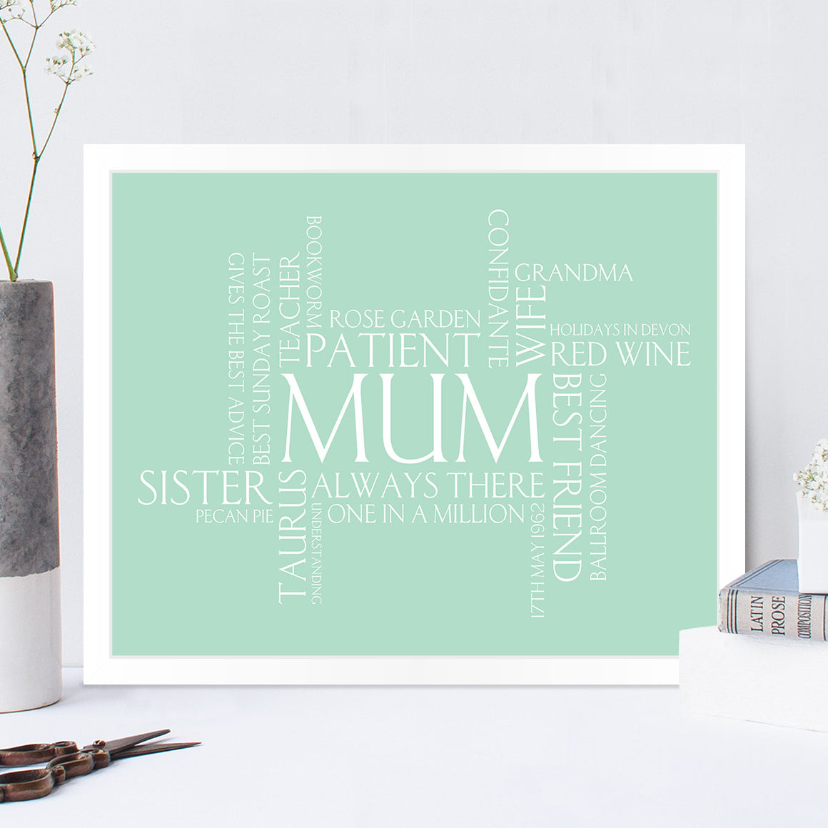 Personalised Mothers Day Wordle Print in Duck Egg