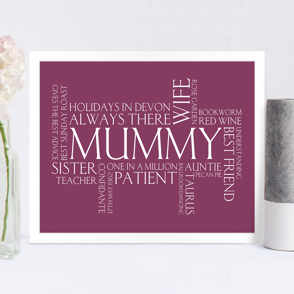 Personalised Wordle Print in Blackcurrant