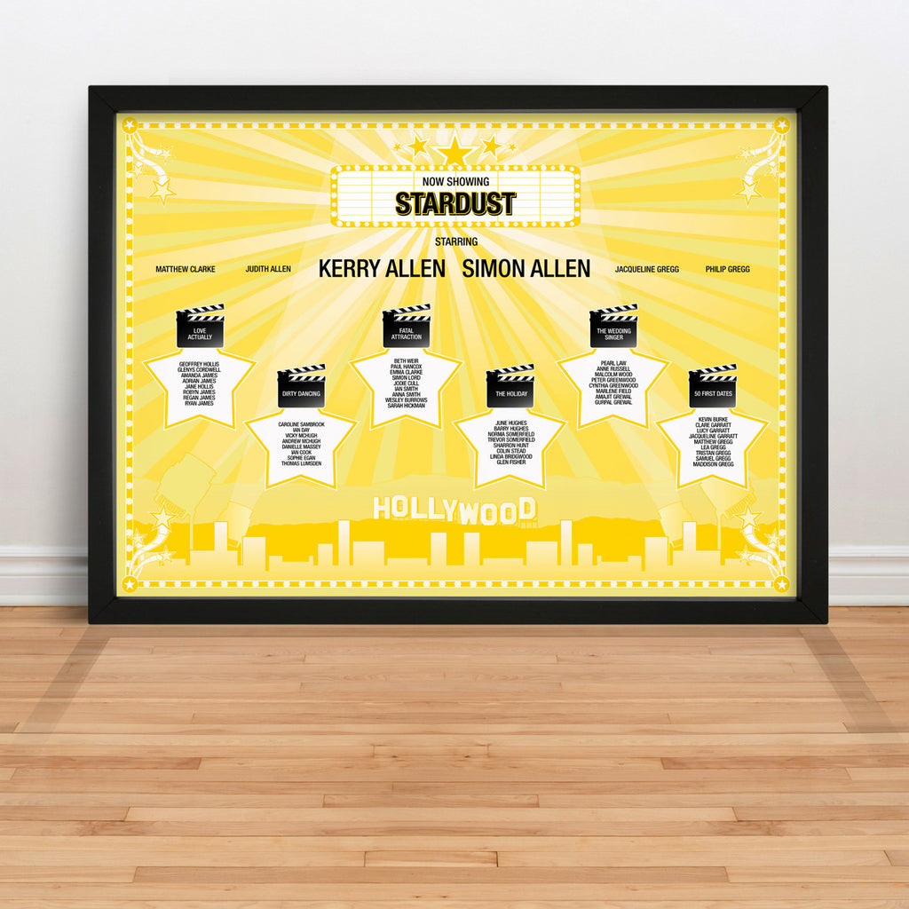 Hollywood Movies Wedding Table Plan