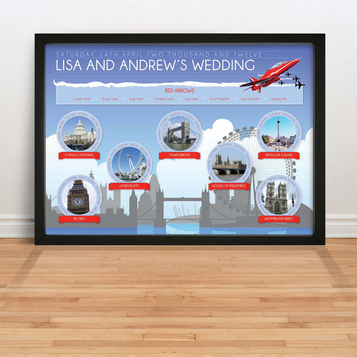 City Skyline wedding table plan