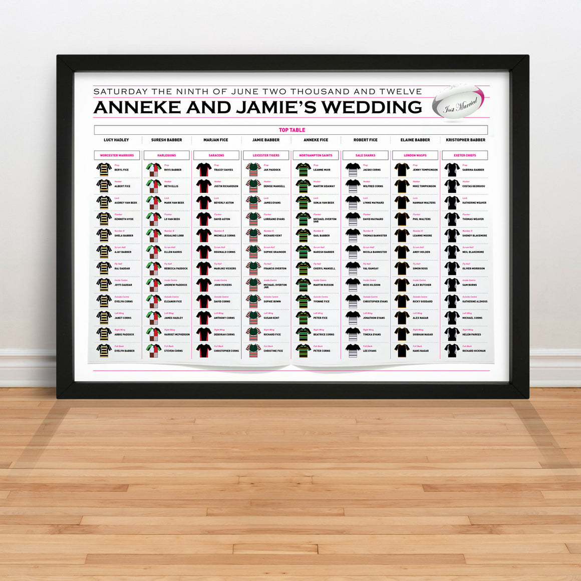 Rugby Wedding Table Plan
