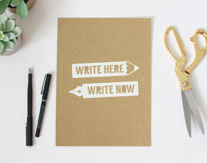 Write Here Write Now A5 Kraft Notebook