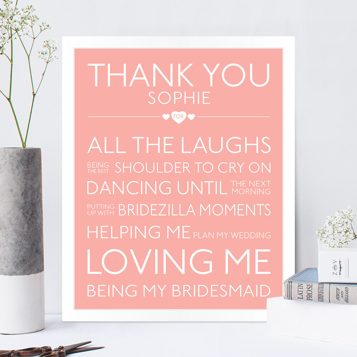 personalised thank you bridesmaid print the pretty in print company