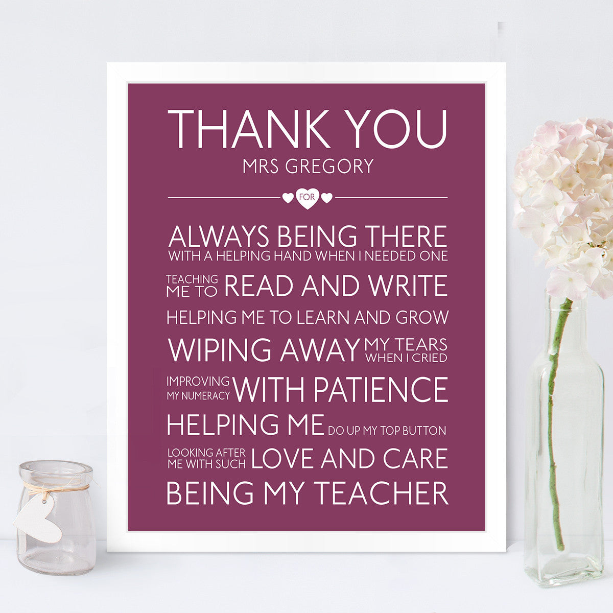 personalised thank you teacher print thank you teacher gift in blackcurrant