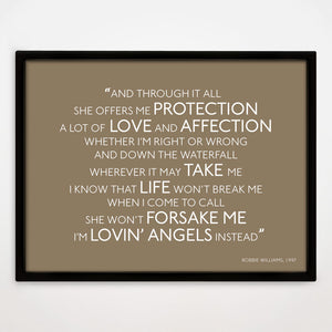 Personalised First Dance Song Lyrics Print Example