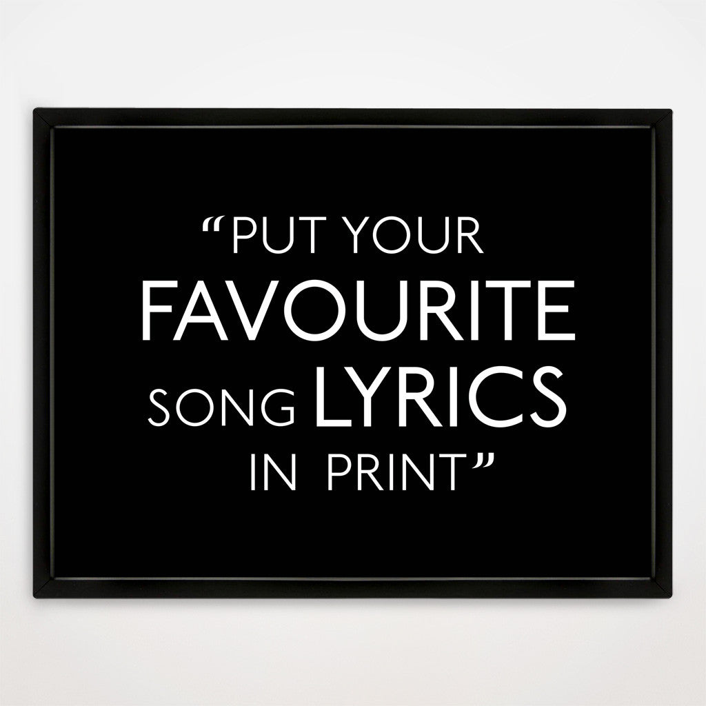 Song Lyrics Print in Traditional