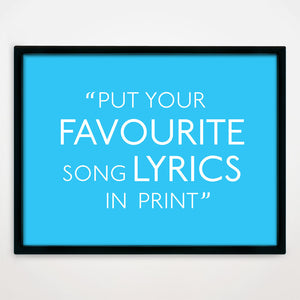 Personalised Song Lyrics Print in Slush Puppie