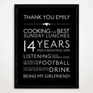 Personalised Thank You Print in Traditional
