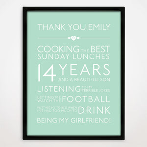Personalised Thank You Print in Duck Egg