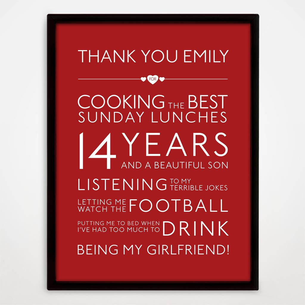 Personalised Thank You Print in Cupid