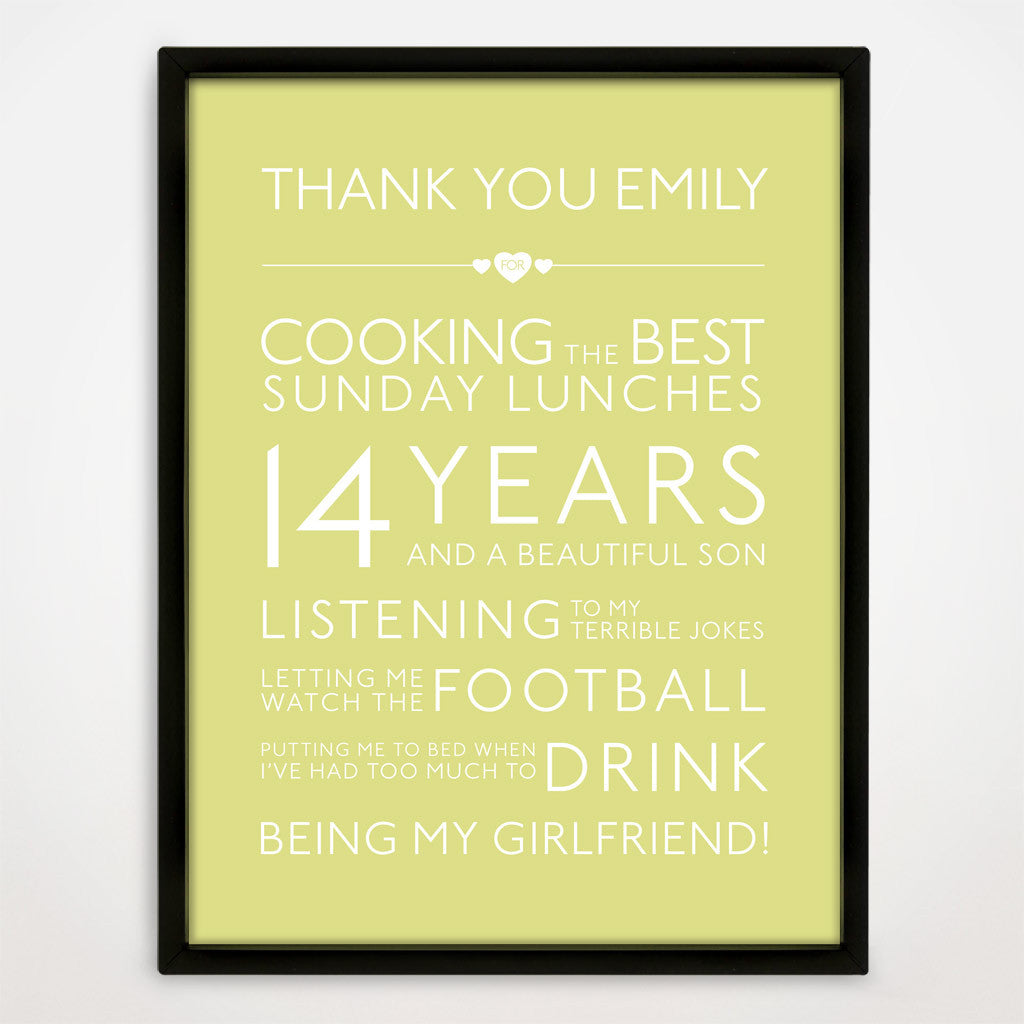 Personalised Thank You Print in Buttercup