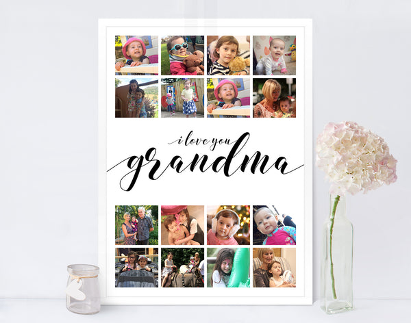 Mothers Day Photo Collage Print Grandma
