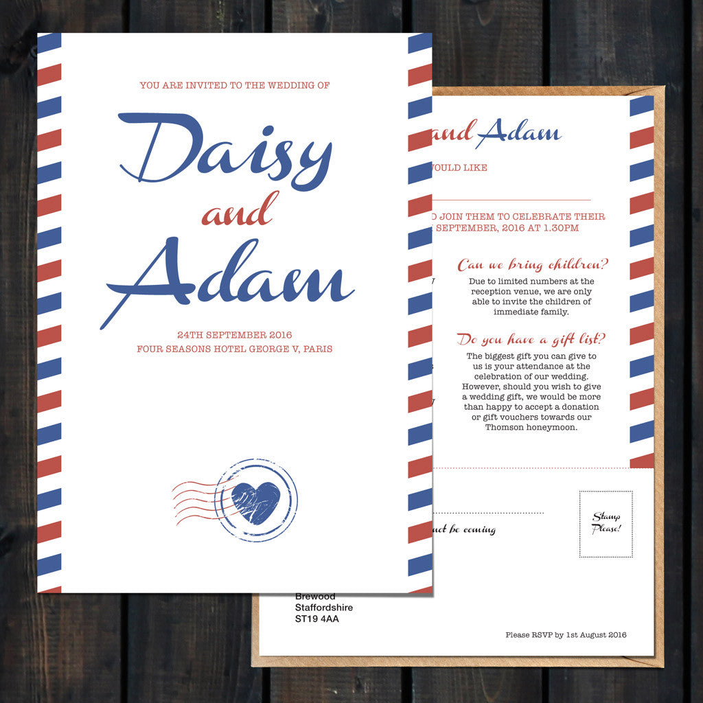 Priority Airmail Wedding Invitation Front and Back