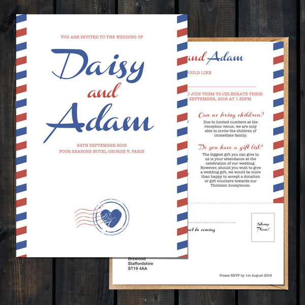 Airmail Wedding Invitations: Priority Airmail Wedding Stationery