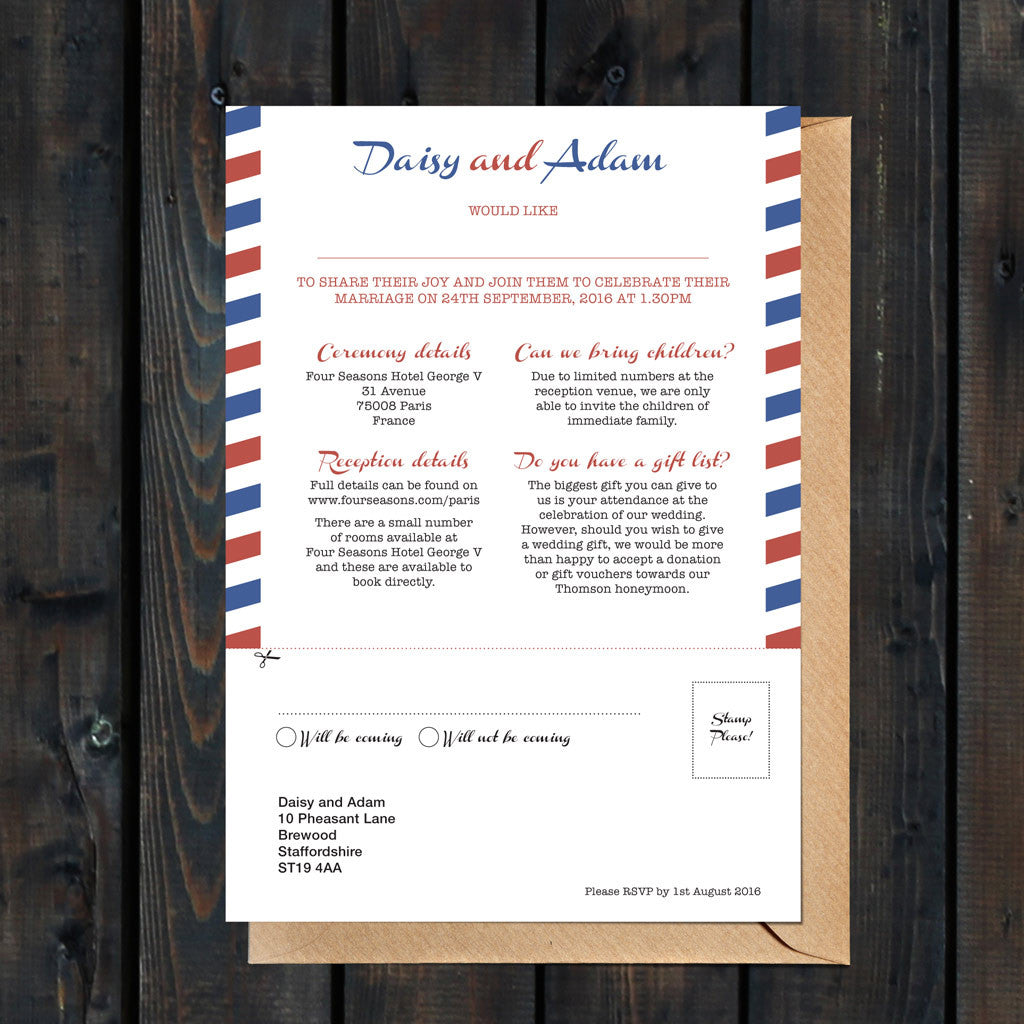 Priority Airmail Wedding Invitation Reverse Detail