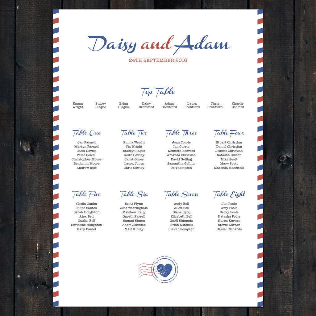Priority Airmail Wedding Table Plan