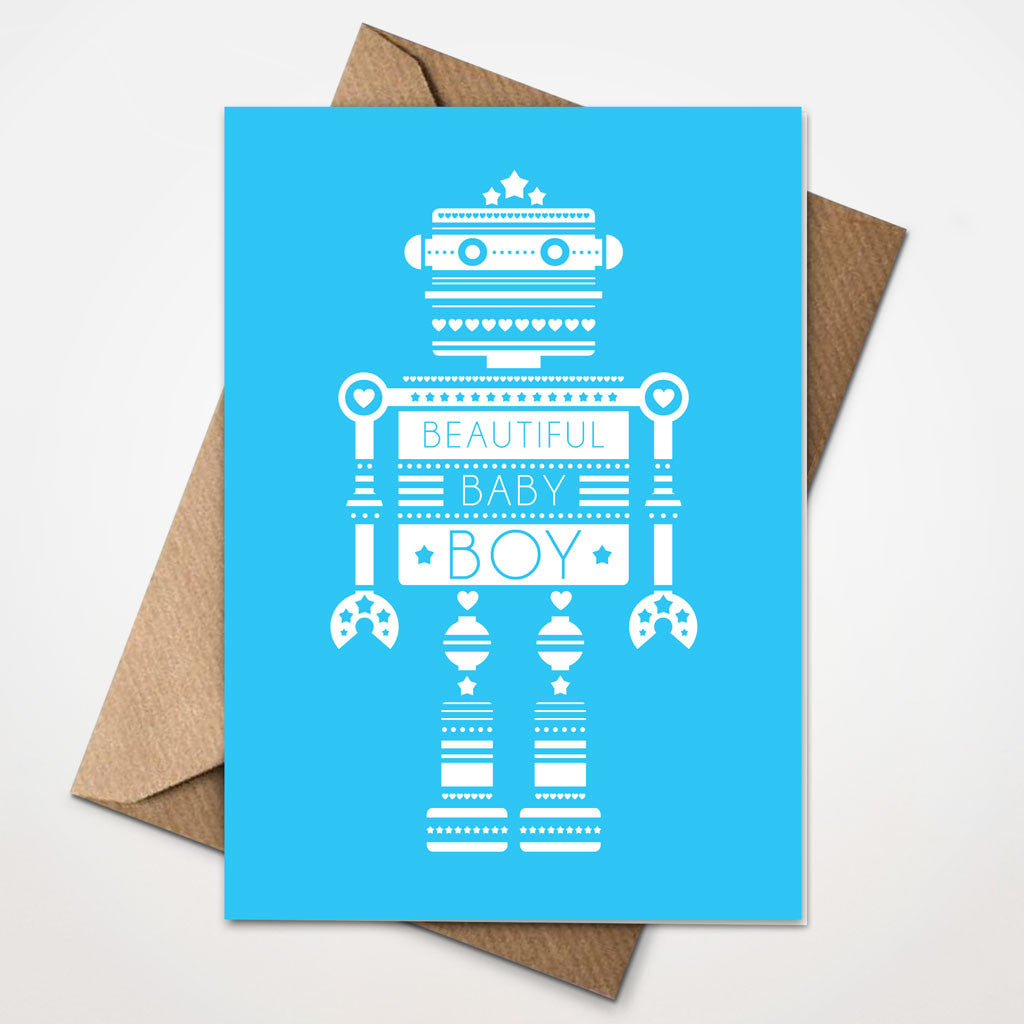 Techonobot New Baby Boy Card