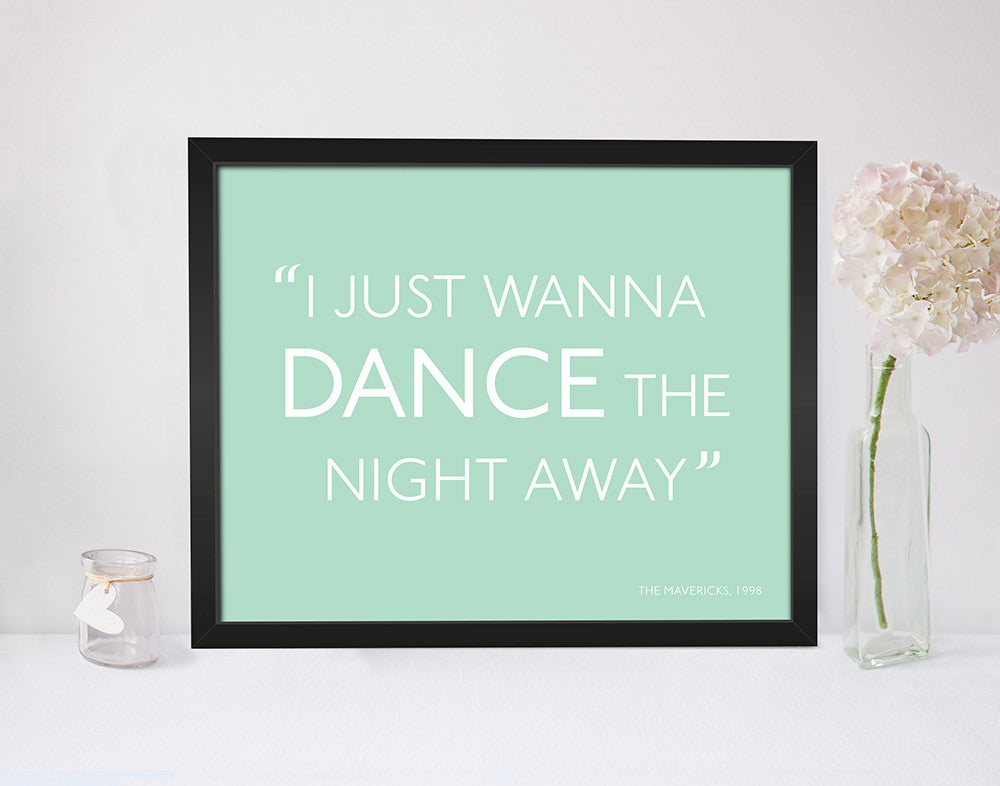 Personalised Song Lyrics Print in Duck Egg