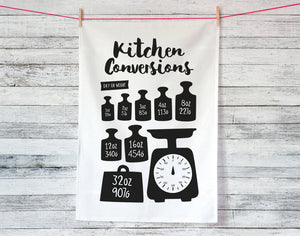 Kitchen Conversions Weights Tea Towel