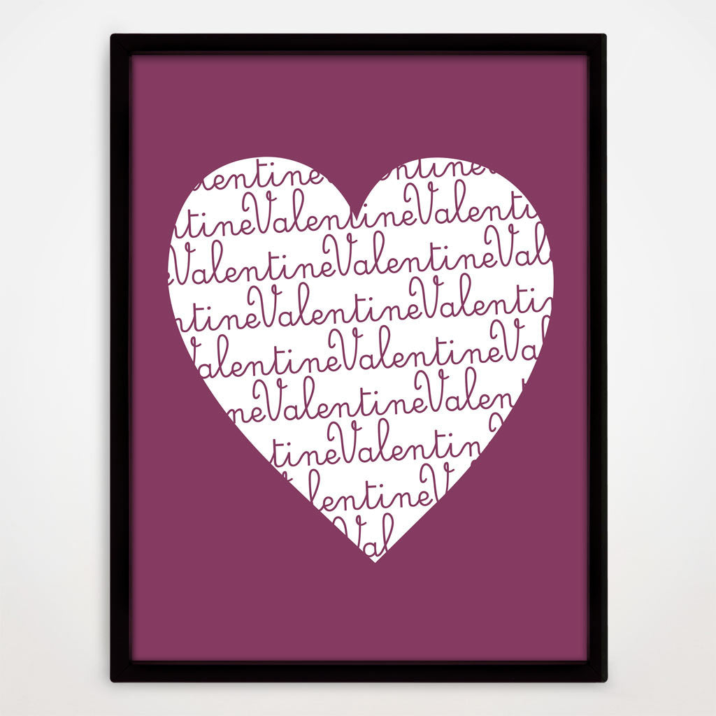 Valentine's Day Heart Print in Blackcurrant