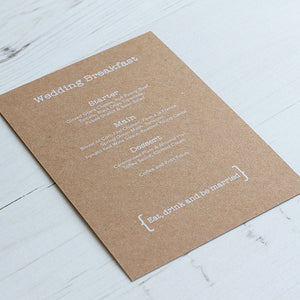 Vintage Rustic Menu Card