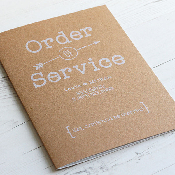 Vintage Rustic Order Of Service The Pretty In Print Company