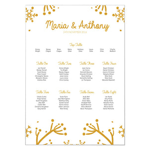Winter Festive Wedding Table Plan