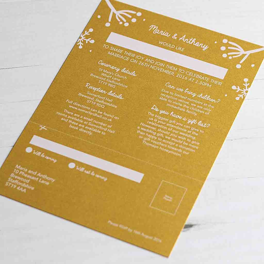 Winter Festive Wedding Invitation Reverse