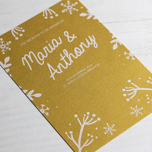 Christmas Wedding Invitations.Winter Festive Wedding Invitation