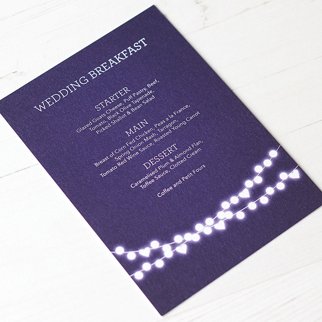 Winter Lights Menu Card