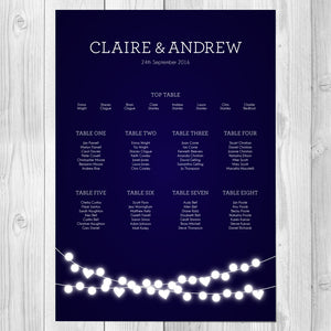 Winter Lights Wedding Table Plan