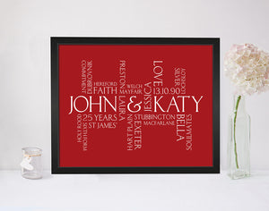 Personalised Mothers Day Wordle Print in Cupid