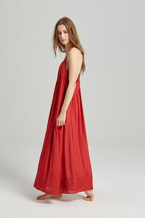 'April' Halter Style T-Bar Back Embroidered Maxi Dress (3 Colours)