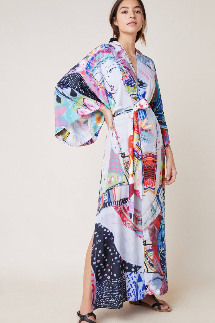 'Fiona' Printed Long Sleeve Beach Wear Long Kimono Jacket in PICASSO